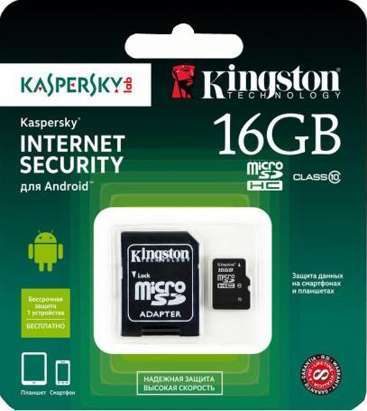 Kingston MicroSDHC 16GB Class 10 + SD adapter SDC10/16GB-KL SotMarket.ru 500.000