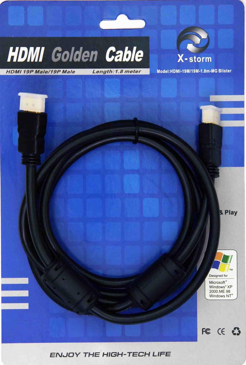 Кабель HDMI-HDMI X-Storm HDMI-19M/19M-1.8M-MG Blister 1.8 м SotMarket.ru 270.000