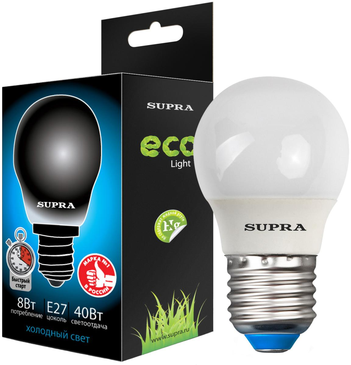 Энергосберегающая лампа SUPRA SL-M-GL 8W E27 SotMarket.ru 106.000