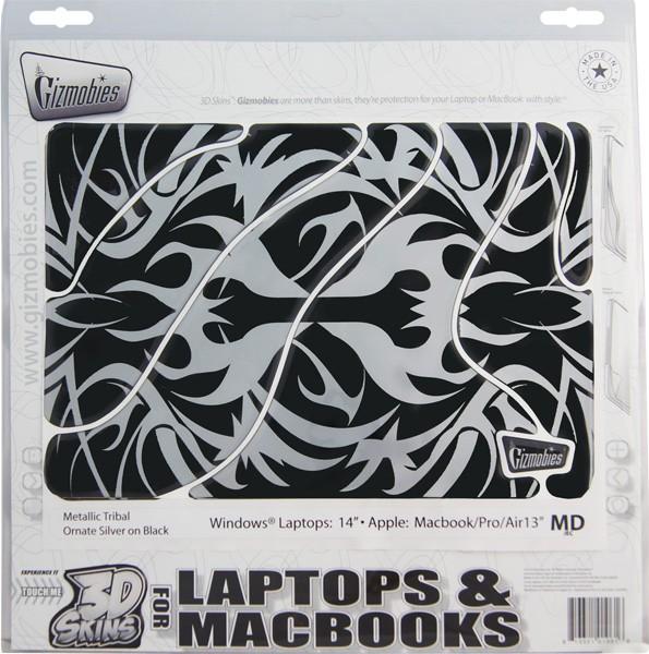 Наклейка для Apple MacBook 13 Gizmobies 3D Metallic Tribal Ornate Silver on Black SotMarket.ru 1660.000