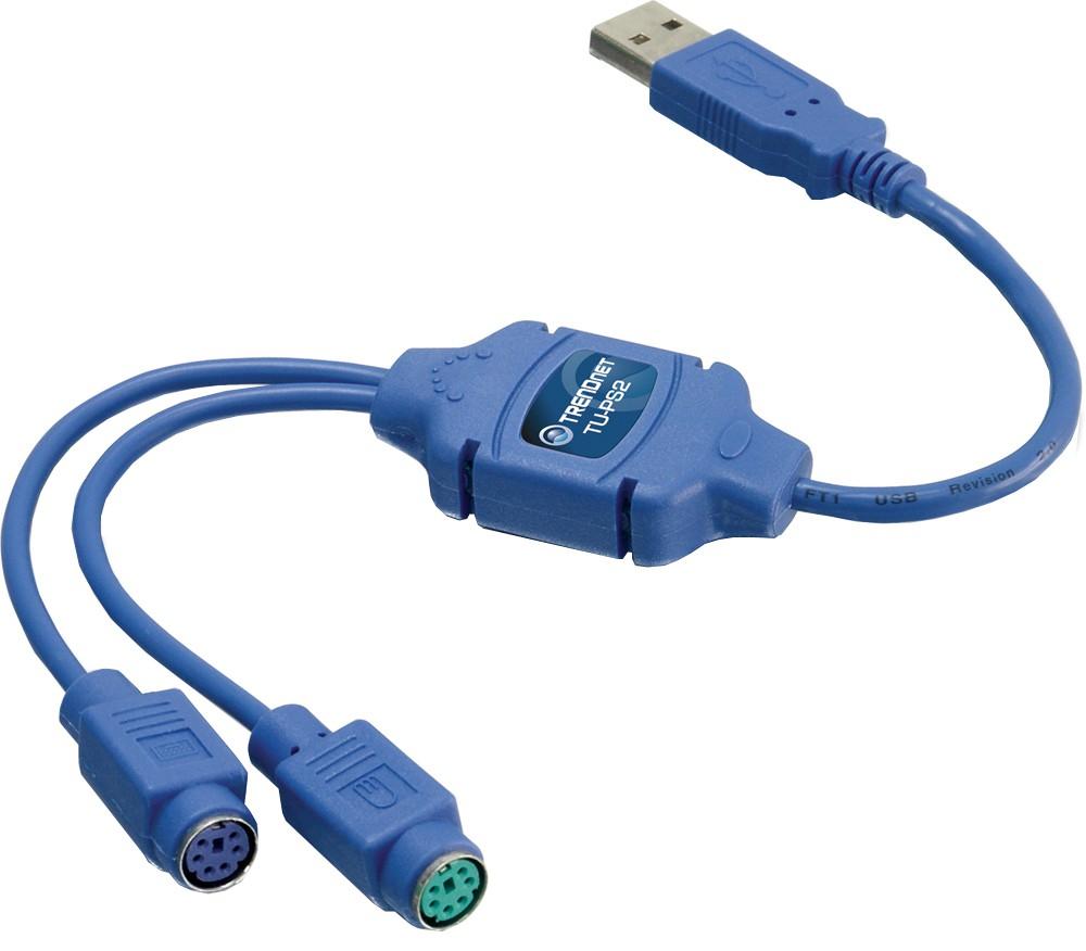 TRENDNet TU-PS2 - переходник USB - PS/2. для подключиния к USB-порту компьютера клавиатуру и мышь с разъемом PS/2.