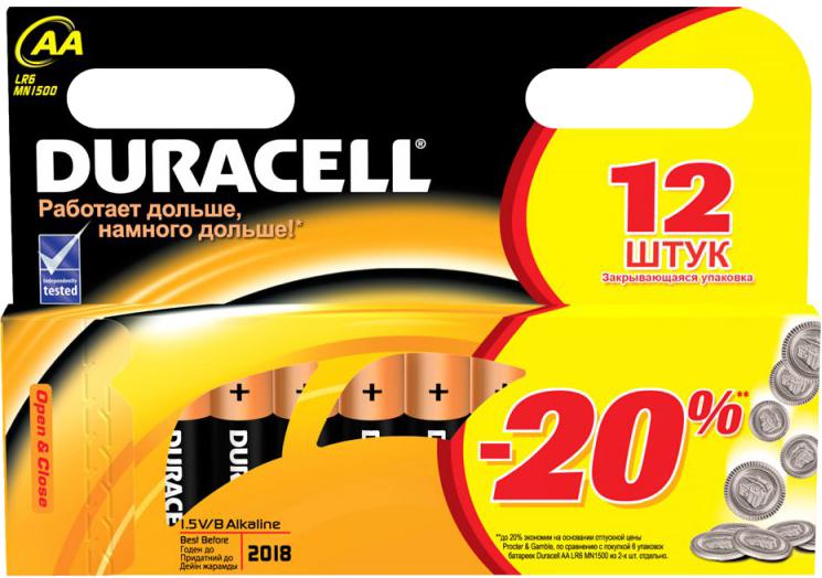 Батарейка Duracell Basic AA LR6 K12.