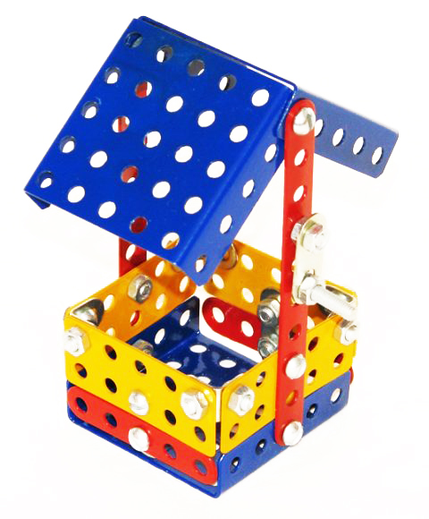 Металлический конструктор Самоделкин Малыш состоит из 74 деталей.