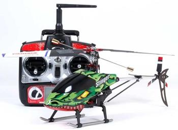 Вертолет оснащен всей необходимой электроникой, включающей приемник, регулятор, гироскоп и два электродвигателя.