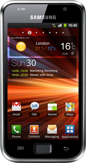 Телефон Samsung GSM GT-I9001 (8Gb) Galaxy S Plus черный.