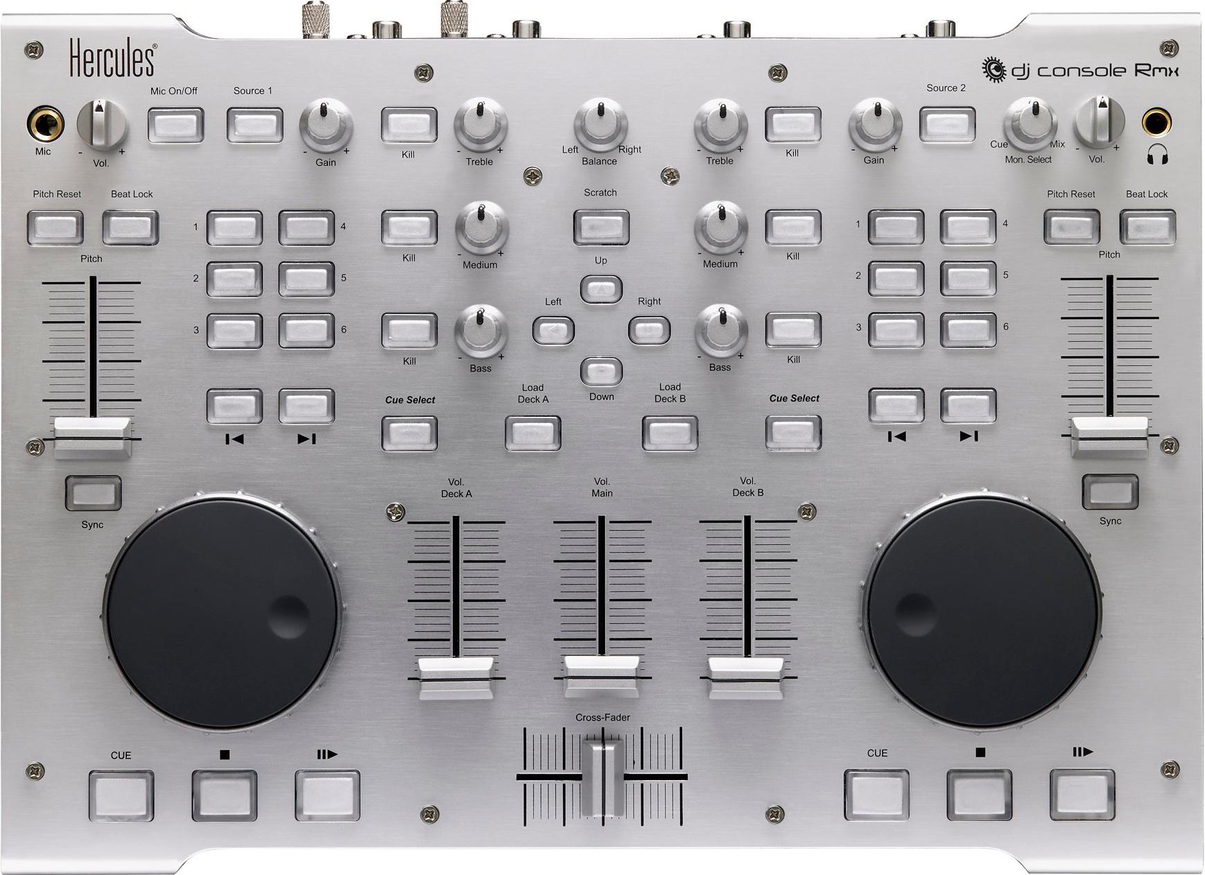 Музыкальный пульт HERCULES DJ Console Rmx для профессиональных диджеев, портативный, материал корпуса металл.