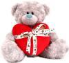 фото Plush Apple Медведь подарочный серый c сердцем 28 см K75313Е2