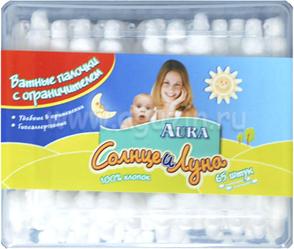 Aura Солнце и луна Детские ватные палочки с ограничителем 60 шт SotMarket.ru 150.000
