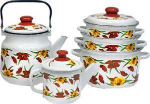 Фото набора посуды ЭМАЛЬ Вальс цветов 2-3087/6 из нержавеющей стали
