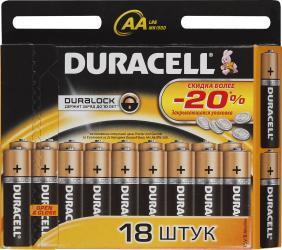 Фото элементов питания Duracell LR6-18BL Basic New