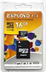 фото Карта памяти Карта памяти EXPLOYD MicroSDHC 16GB Class 10 + SD adapter