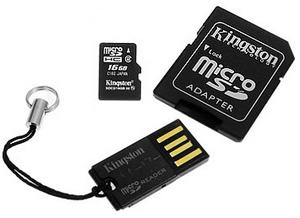фото Карта памяти Карта памяти Kingston MicroSDHC 16GB Class 4 + USB Reader G2 MBLYG2/16GB