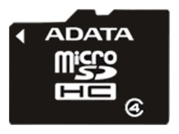 фото Карта памяти Карта памяти ADATA MicroSDHC 16GB Class 4 + SD adapter
