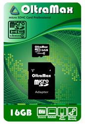 фото Карта памяти Карта памяти OltraMax MicroSDHC 16GB Class 4 + SD adapter