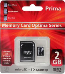 Фото флеш-карты Prima MicroSD 2GB + SD adapter