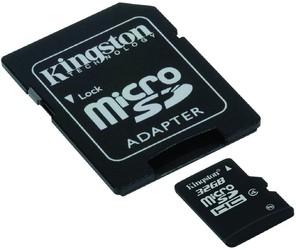 фото Карта памяти Карта памяти Kingston MicroSDHC 32GB Class 4 + SD adapter SDC4/32GB