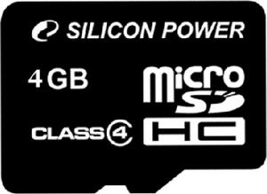 фото Карта памяти Карта памяти Silicon Power MicroSDHC 4GB Class 4 + SD adapter