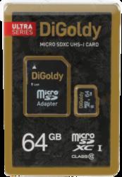 фото Карта памяти Карта памяти Digoldy MicroSDXC 64GB Class 10 Ultra UHS-1 + SD adapter