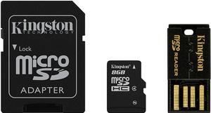 Фото флеш-карты Kingston MicroSDHC 8GB Class 10 + SD адаптер + USB Reader