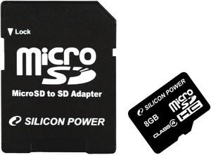 фото Карта памяти Карта памяти Silicon Power MicroSDHC 8GB Class 4 + SD adapter