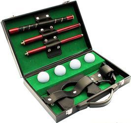 Фото набор для гольфа Эврика в кожаном кейсе 4 мяча 95161