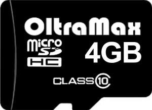 Фото флеш-карты OltraMax MicroSDHC 4GB Class 10 + SD adapter