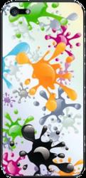 фото Наклейка для Apple iPhone 4 LuxCase Кляксы цветные
