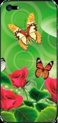 фото Наклейка для Apple iPhone 4 LuxCase Бабочки и розы