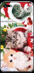 фото Наклейка на Apple iPhone 4 LuxCase Кошки новогодние